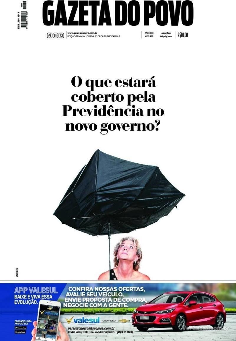Capa jornal Gazeta do Povo 20/10/2018