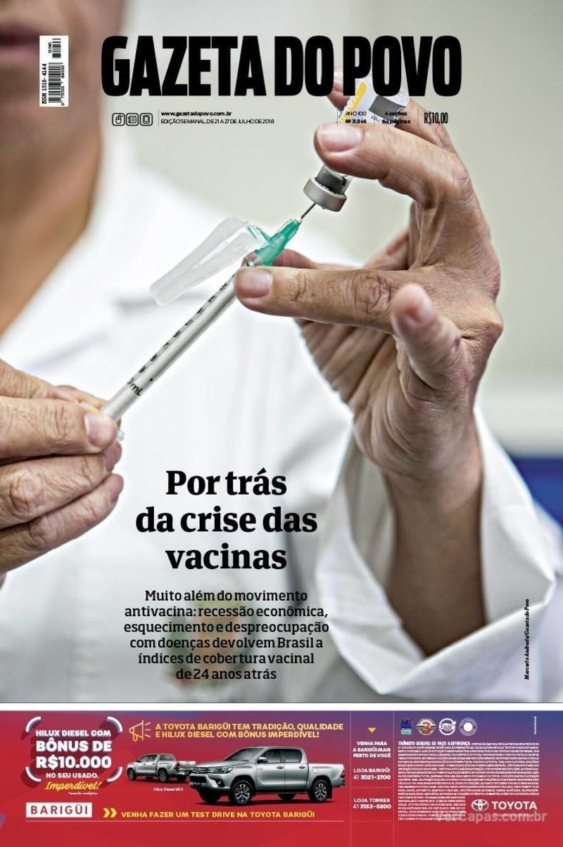 Capa do jornal Gazeta do Povo 21/07/2018