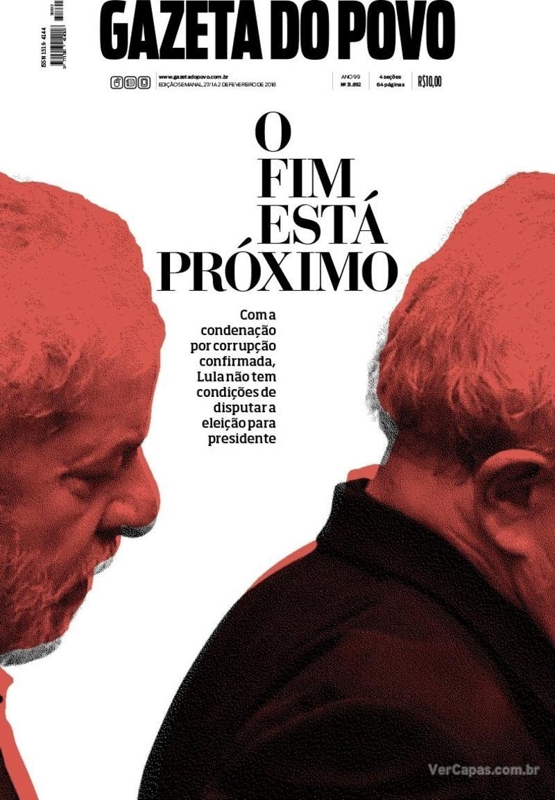 Capa do jornal Gazeta do Povo 27/01/2018