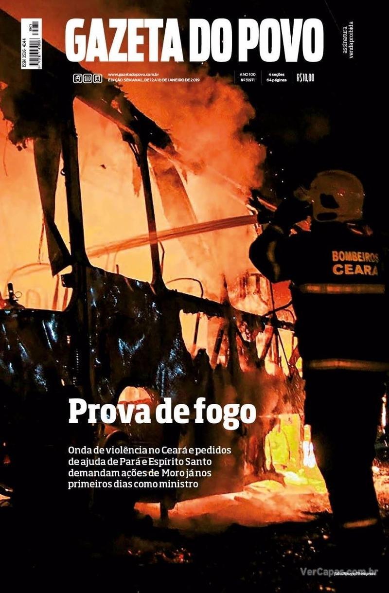 Capa do jornal Gazeta do Povo 12/01/2019