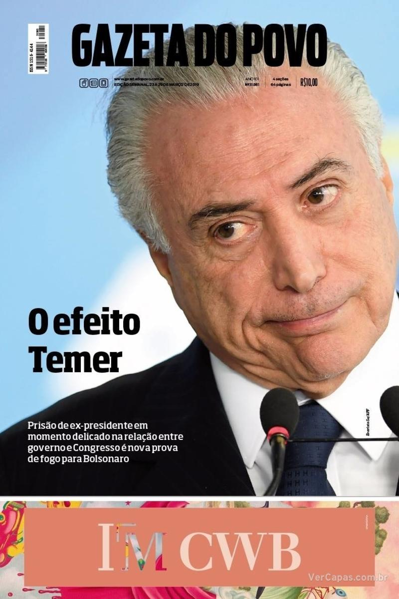 Capa do jornal Gazeta do Povo 23/03/2019
