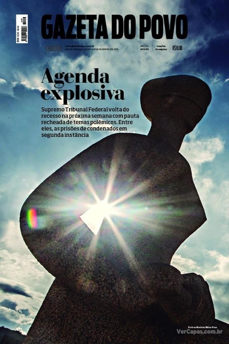 Capa do jornal Gazeta do Povo 26/01/2019