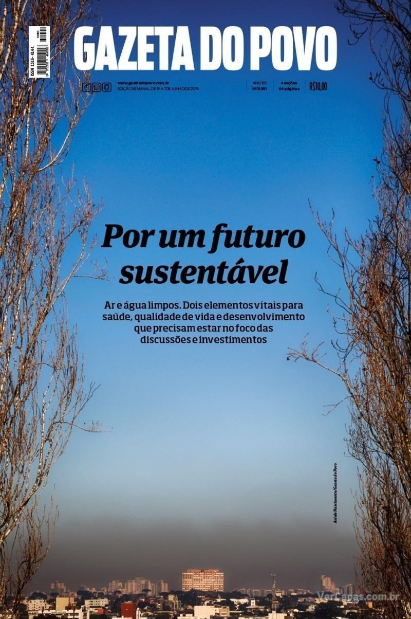 Capa do jornal Gazeta do Povo 01/06/2019