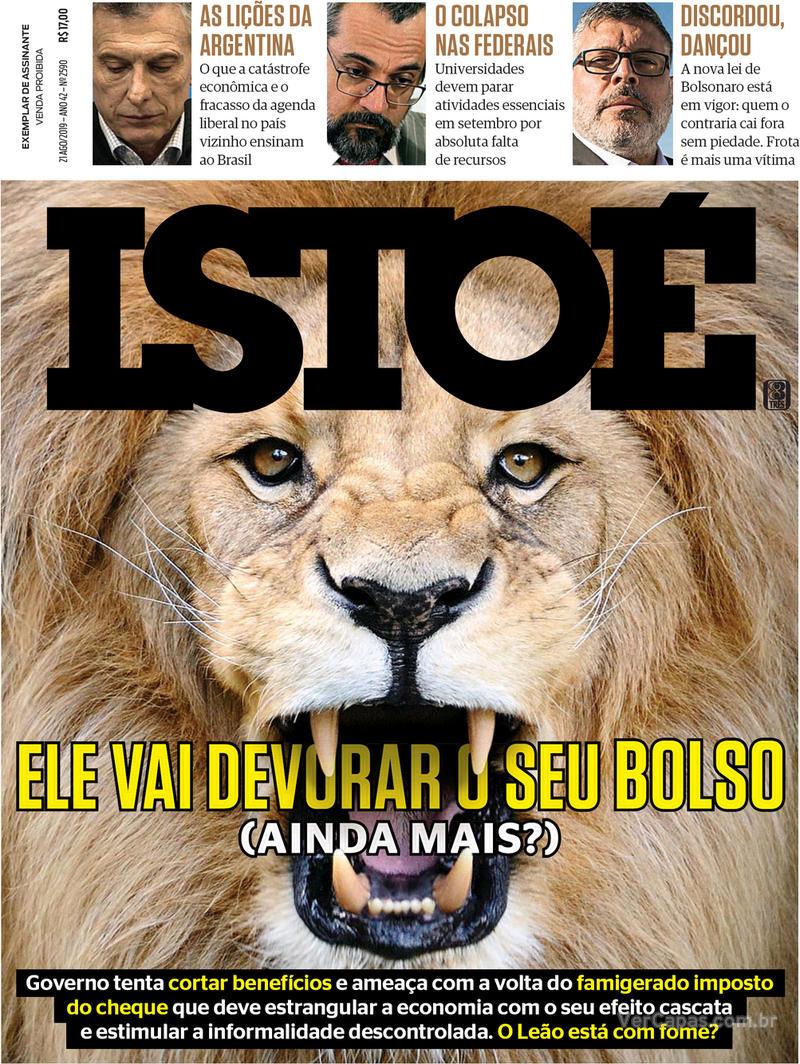 Capa revista ISTOÉ 16/08/2019