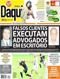Capa do jornal Jornal Daqui 29/10/2020