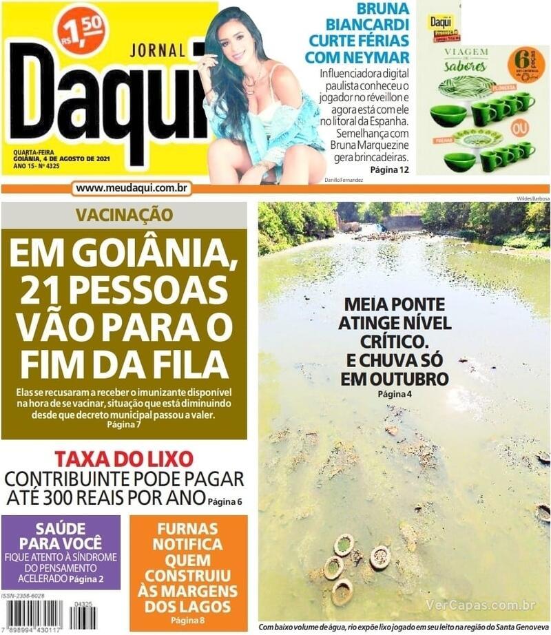 Capa do jornal Jornal Daqui 04/08/2021