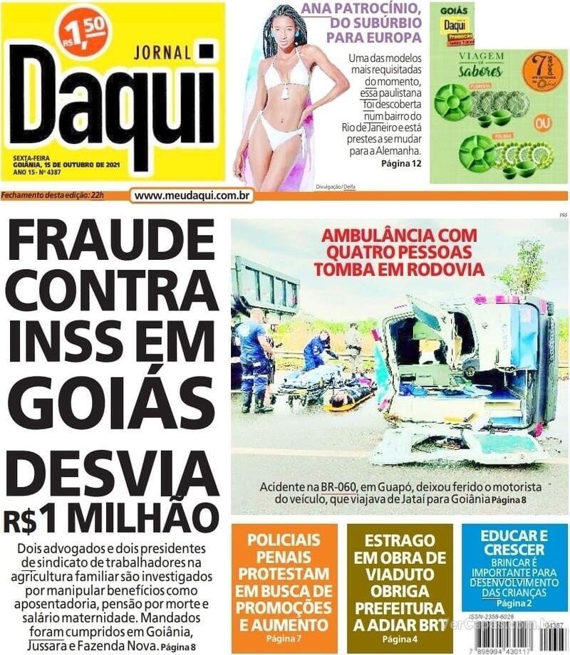 Capa do jornal Jornal Daqui 15/10/2021
