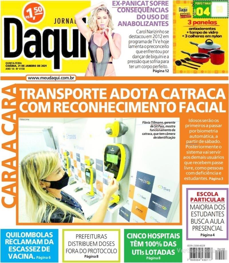 Capa do jornal Jornal Daqui 21/01/2021