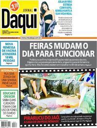 Capa do jornal Jornal Daqui 16/04/2021