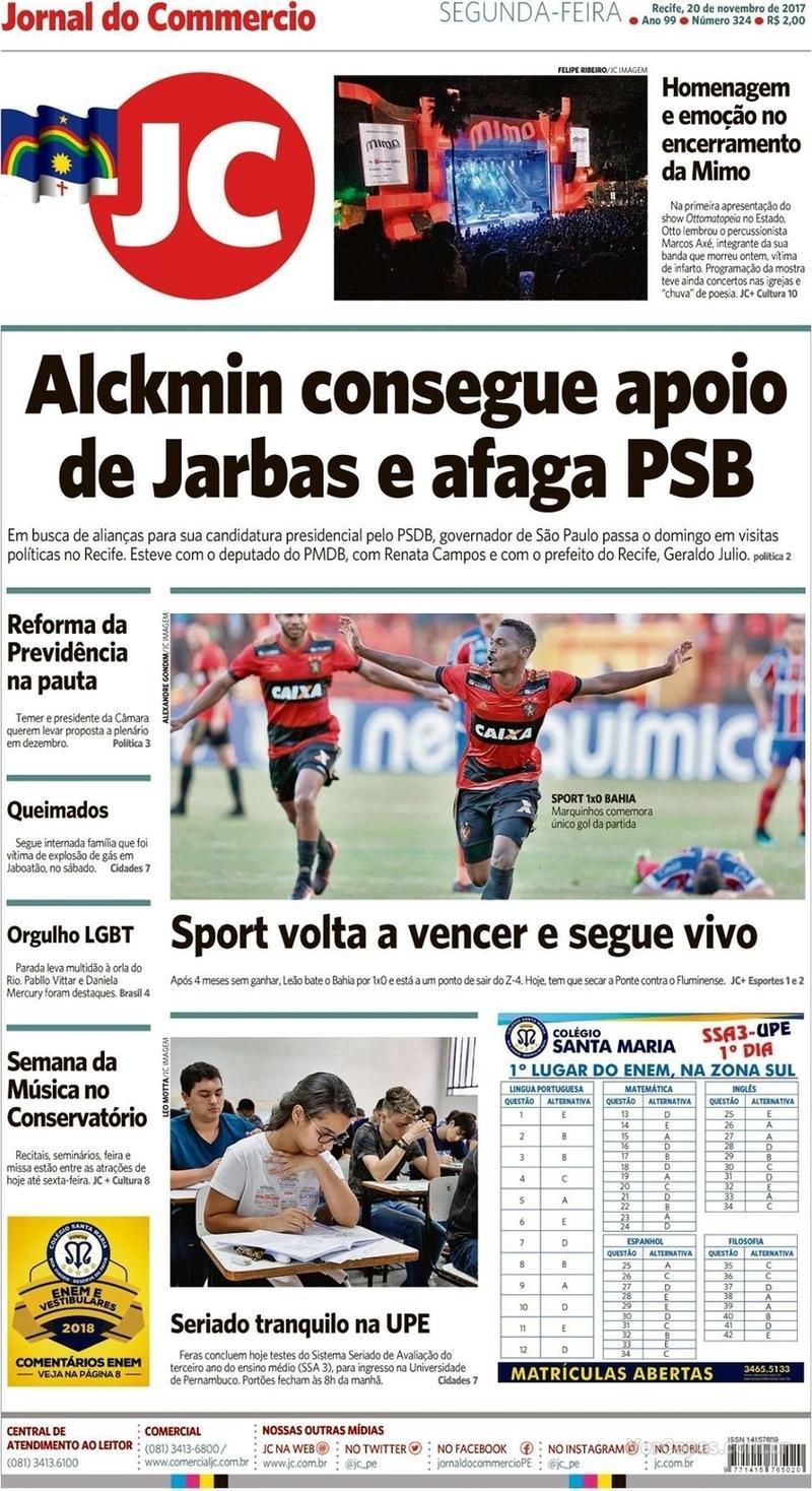 Capa Jornal do Commercio 2017-11-20