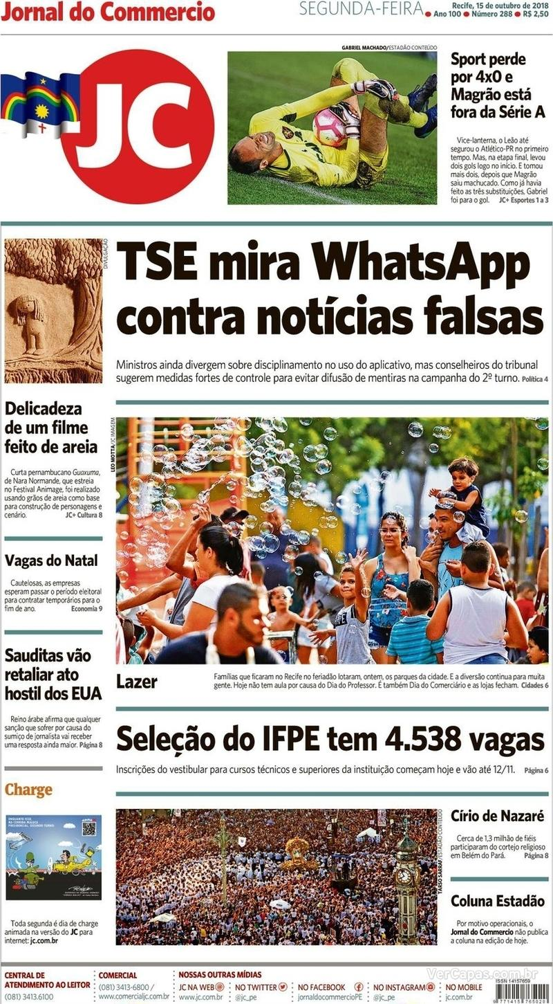 Capa Jornal do Commercio 2018-10-15
