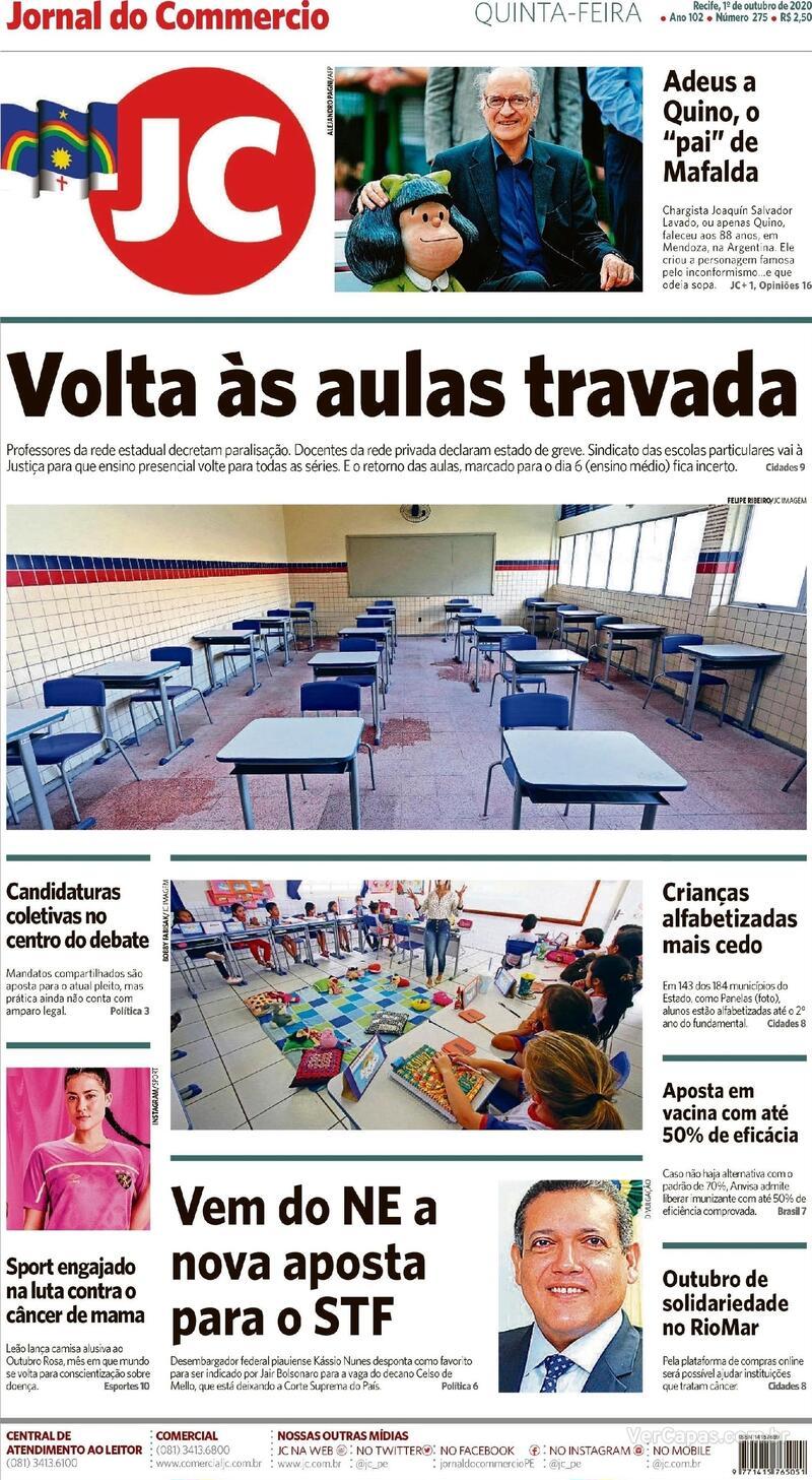Capa do jornal Jornal do Commercio 01/10/2020