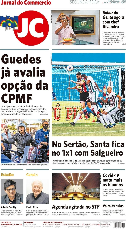 Capa do jornal Jornal do Commercio 03/08/2020