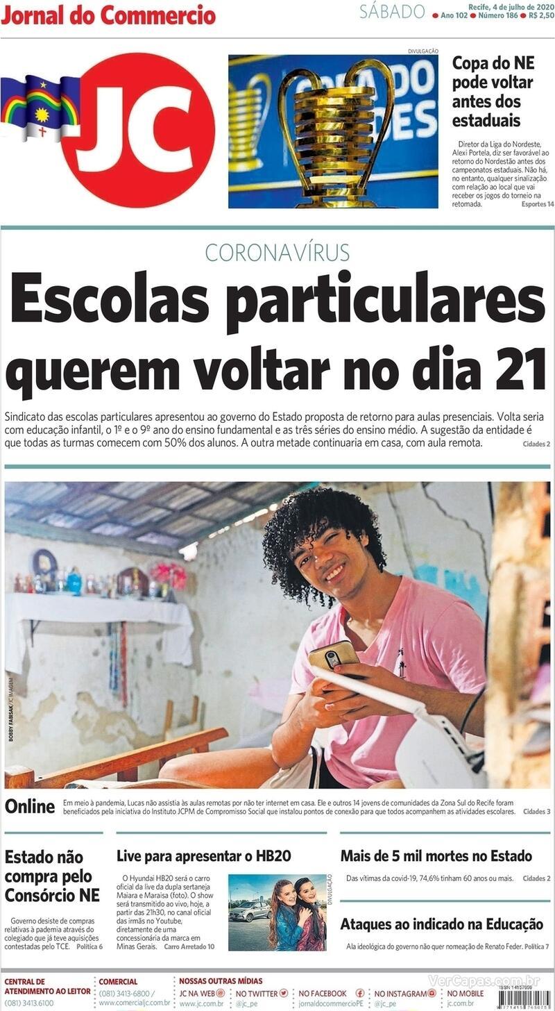 Capa do jornal Jornal do Commercio 04/07/2020