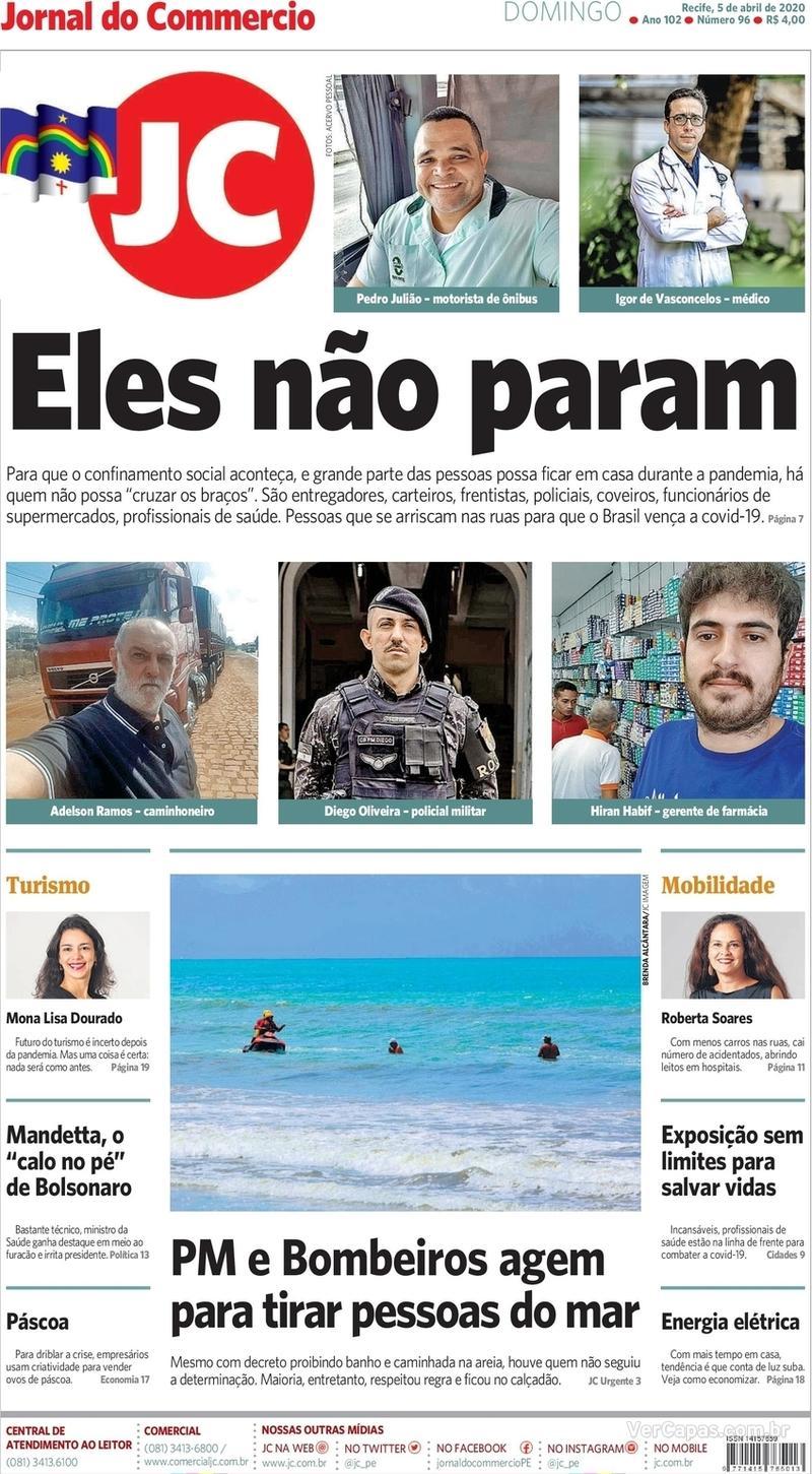 Capa do jornal Jornal do Commercio 05/04/2020