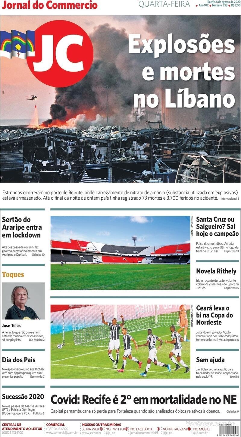 Capa do jornal Jornal do Commercio 05/08/2020