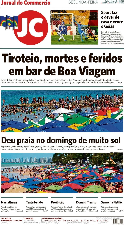 Capa do jornal Jornal do Commercio 07/09/2020