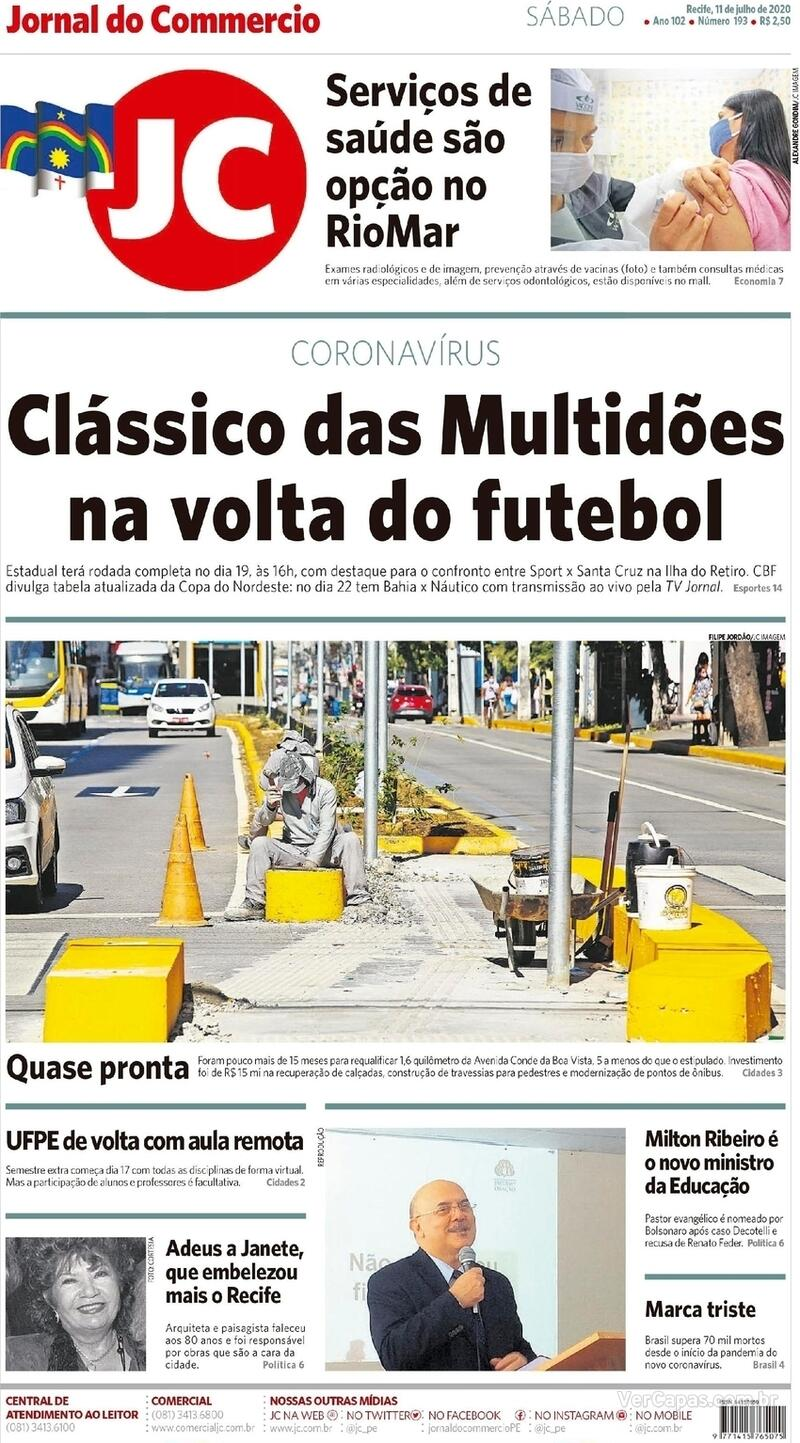 Capa do jornal Jornal do Commercio 11/07/2020