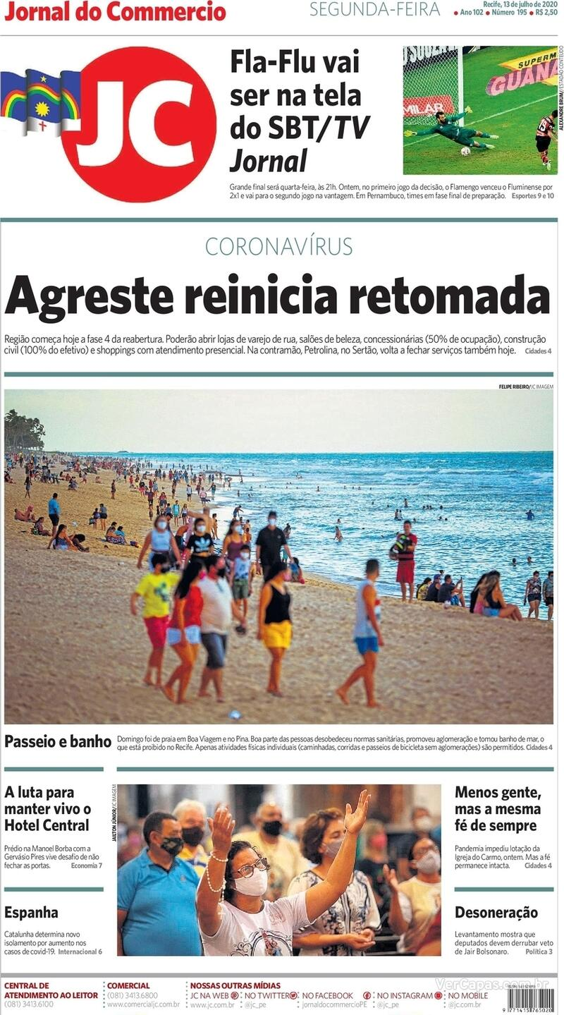 Capa do jornal Jornal do Commercio 13/07/2020