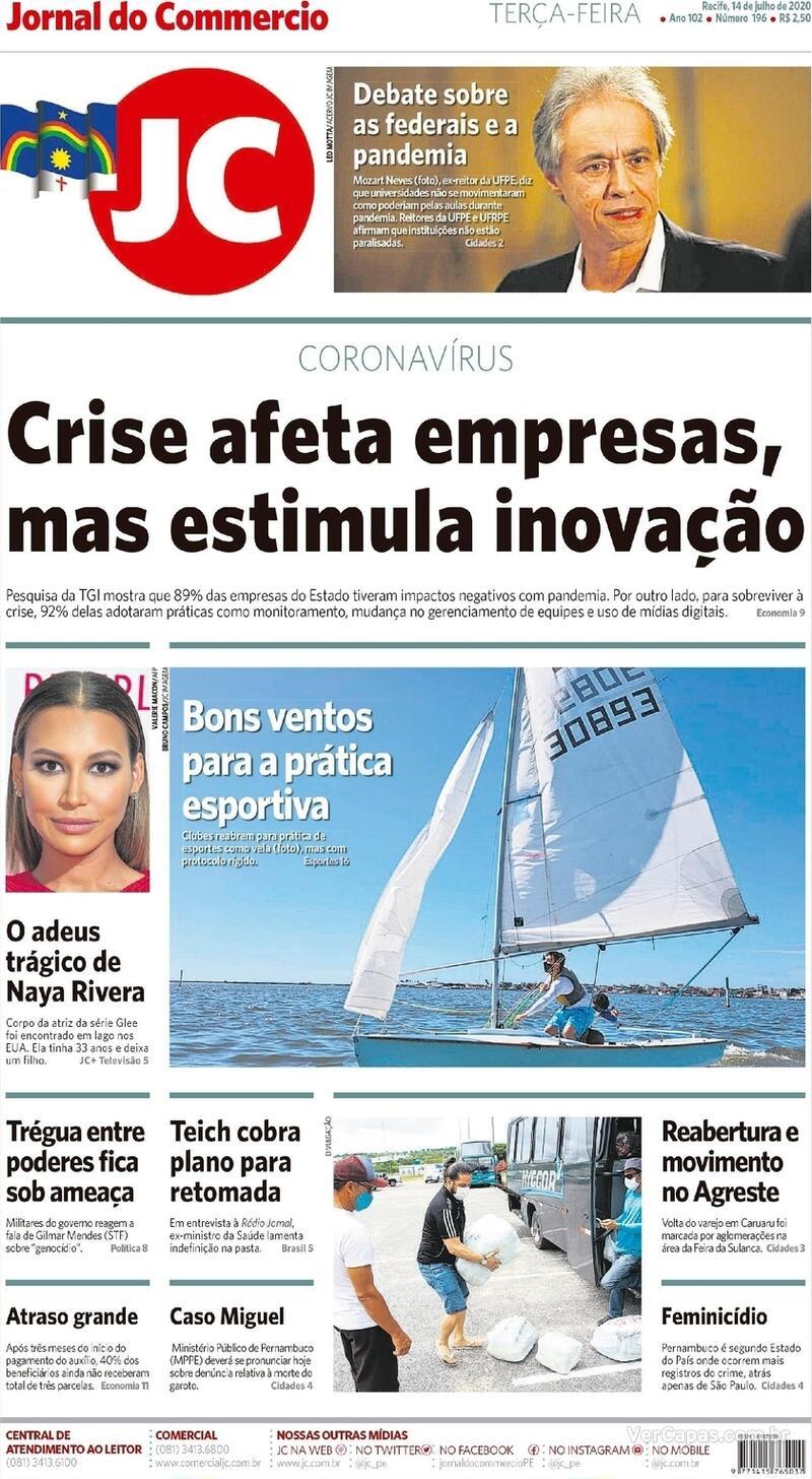 Capa do jornal Jornal do Commercio 14/07/2020