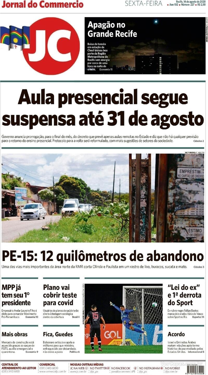 Capa do jornal Jornal do Commercio 14/08/2020