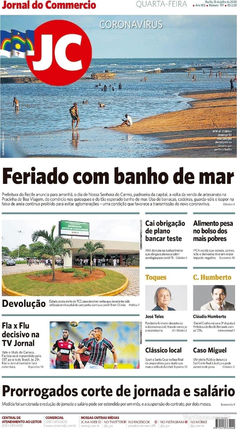 Capa do jornal Jornal do Commercio 15/07/2020