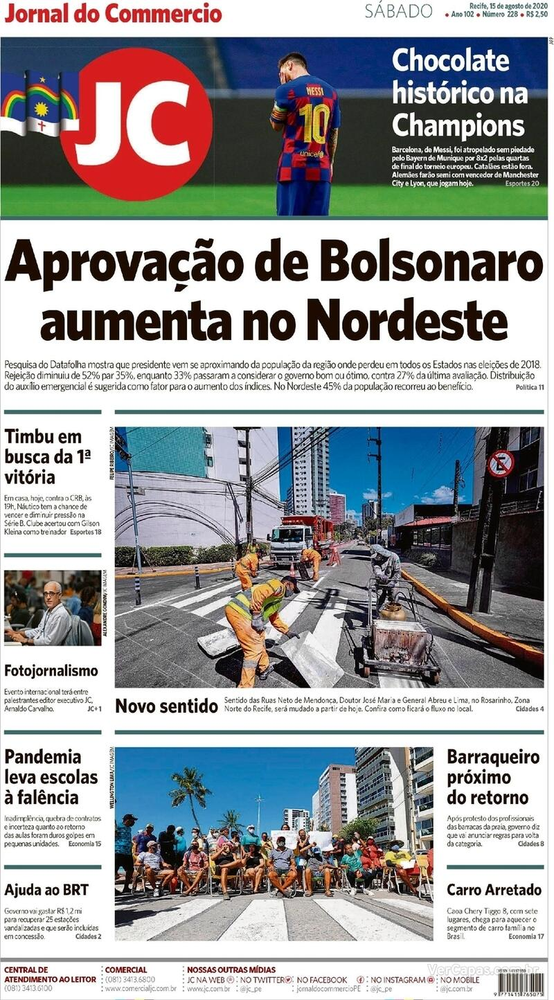Capa do jornal Jornal do Commercio 15/08/2020