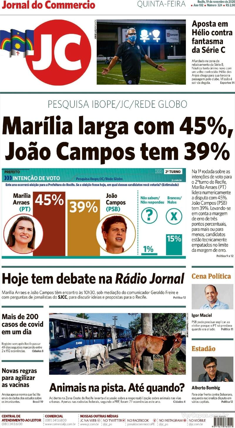 Capa do jornal Jornal do Commercio 19/11/2020