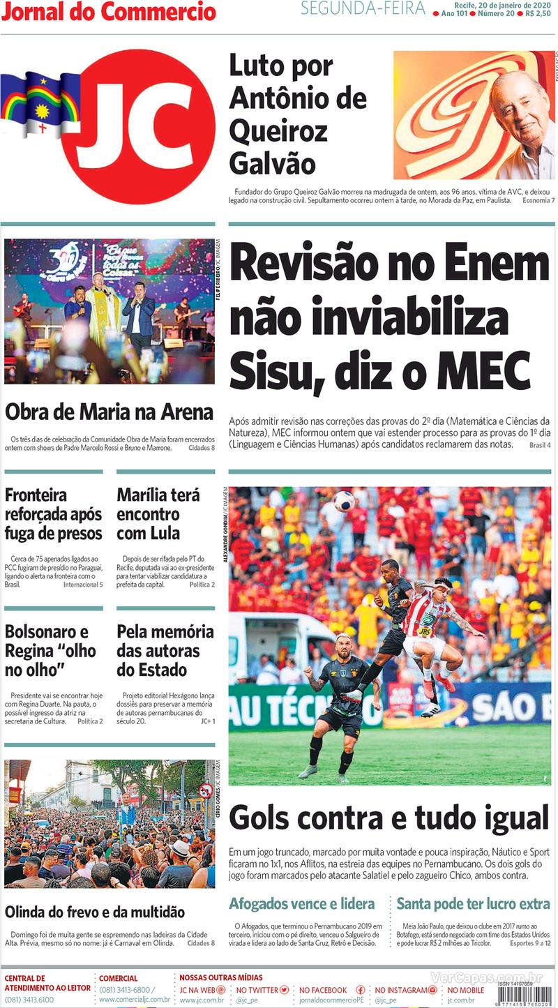 Capa jornal Jornal do Commercio