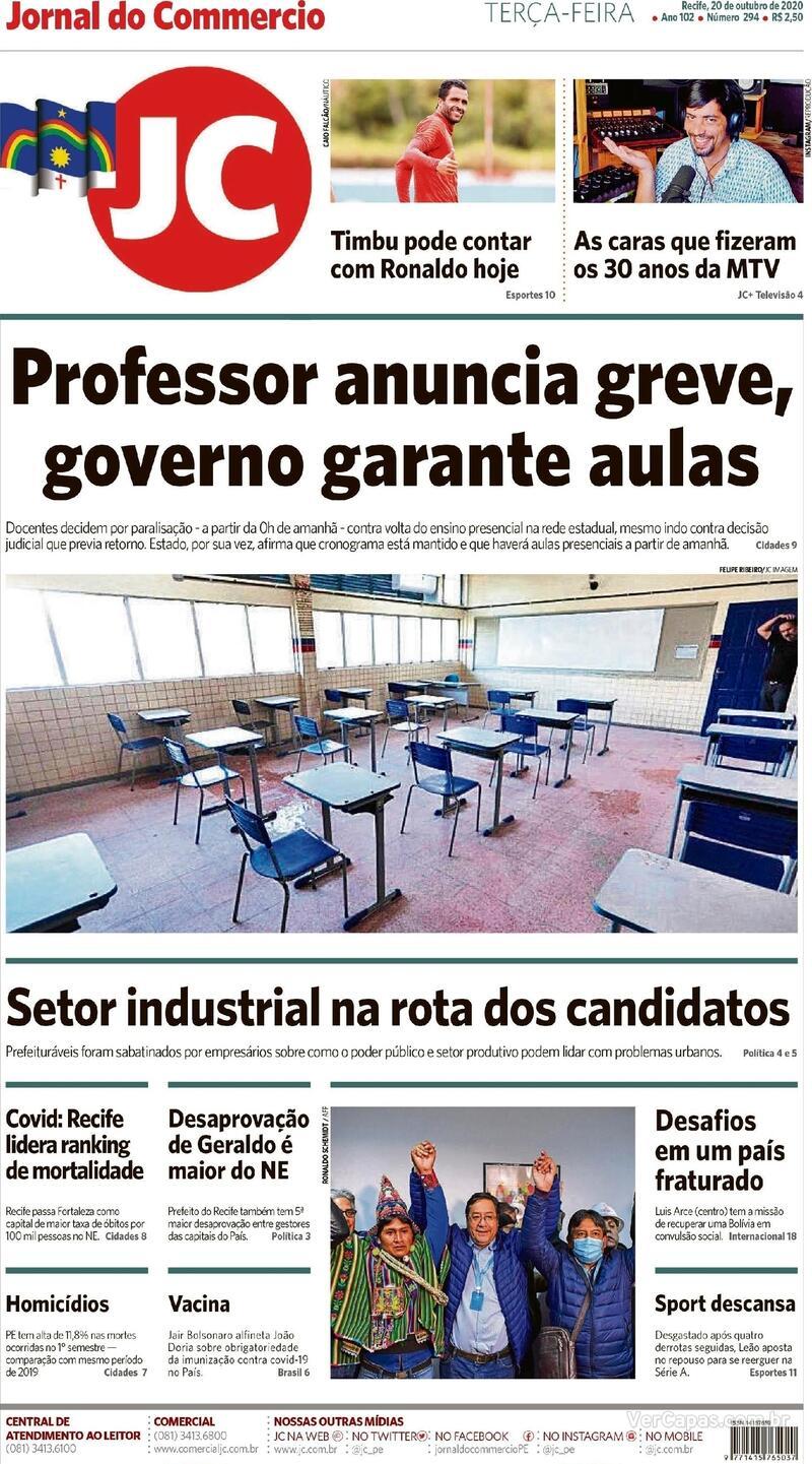 Capa do jornal Jornal do Commercio 20/10/2020