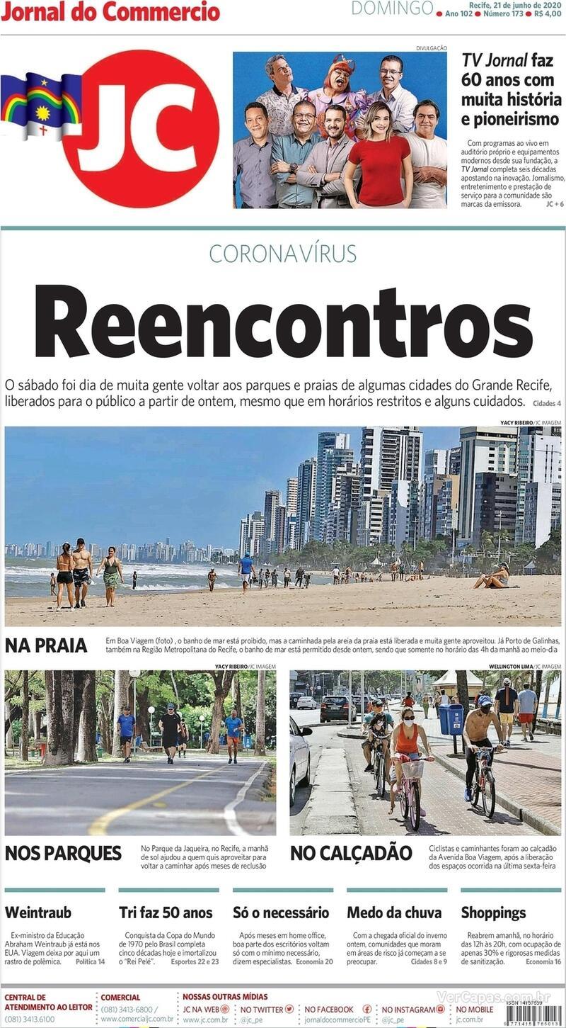 Capa do jornal Jornal do Commercio 21/06/2020