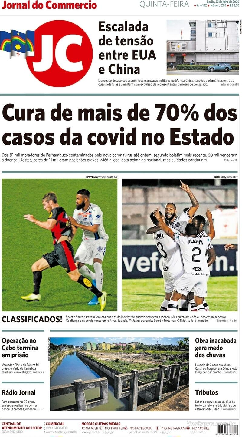 Capa do jornal Jornal do Commercio 23/07/2020