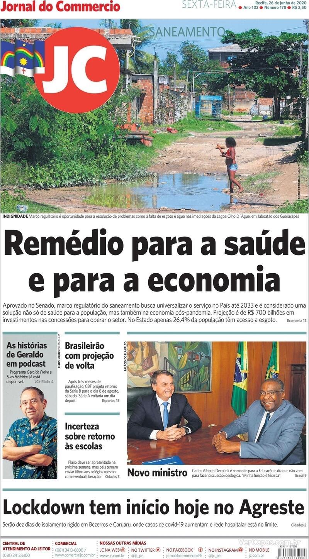 Capa do jornal Jornal do Commercio 26/06/2020