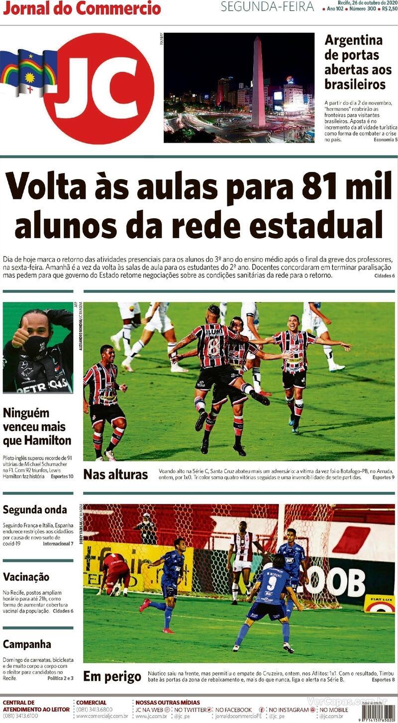 Capa do jornal Jornal do Commercio 26/10/2020