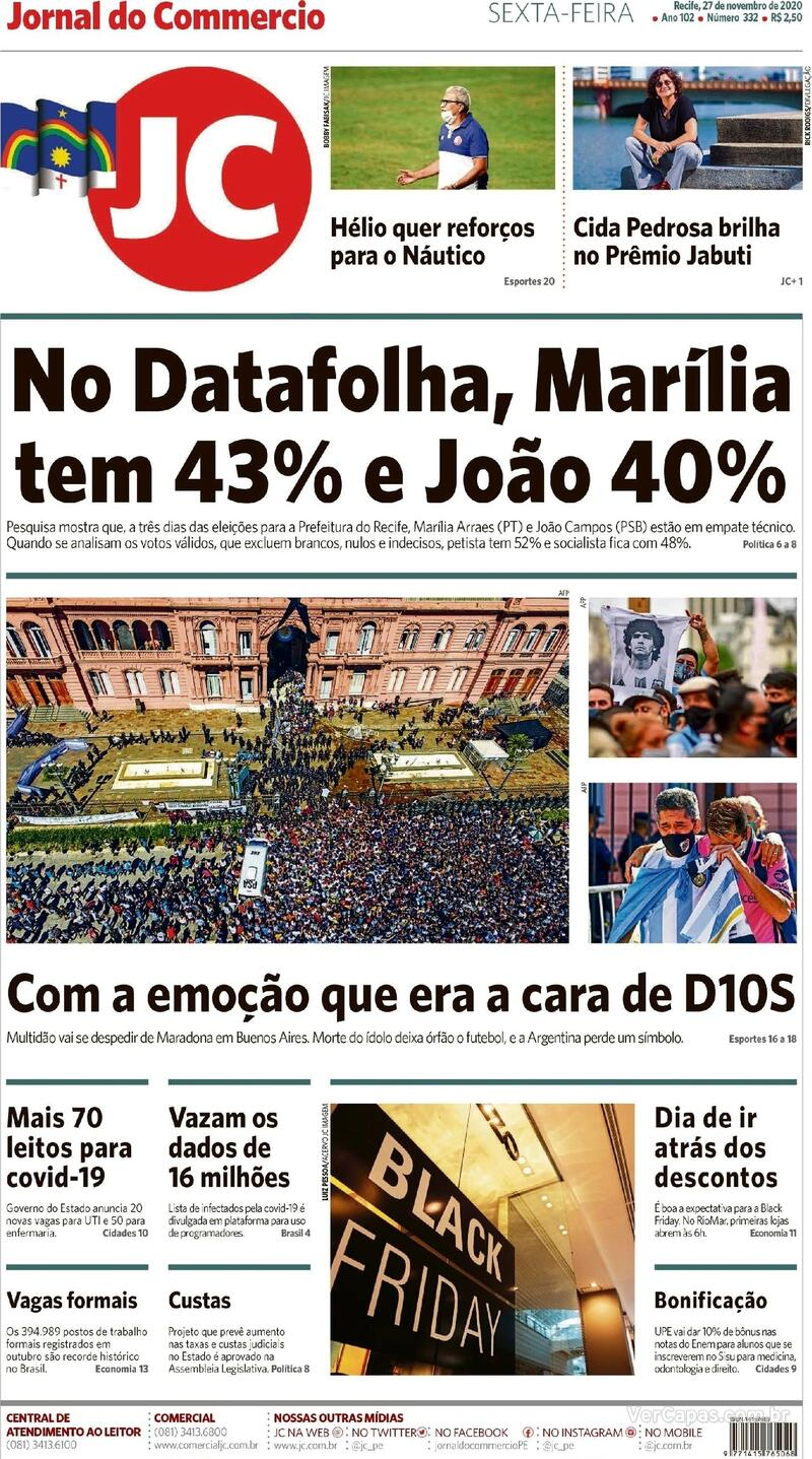 Capa do jornal Jornal do Commercio 27/11/2020