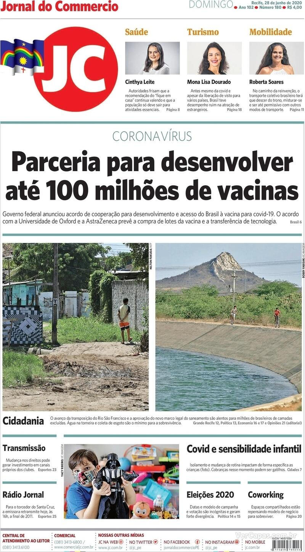 Capa do jornal Jornal do Commercio 28/06/2020