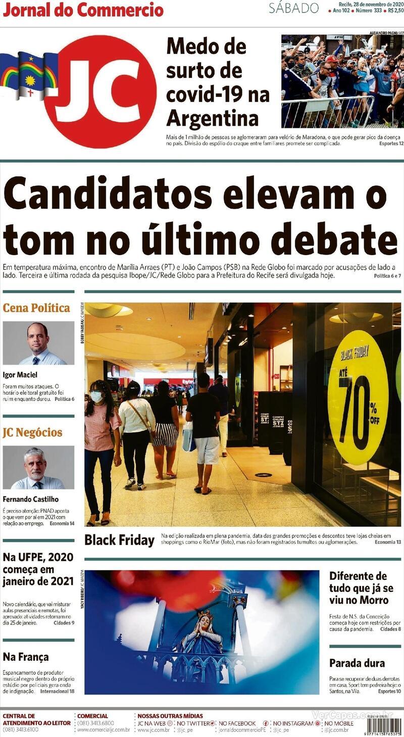 Capa do jornal Jornal do Commercio 28/11/2020