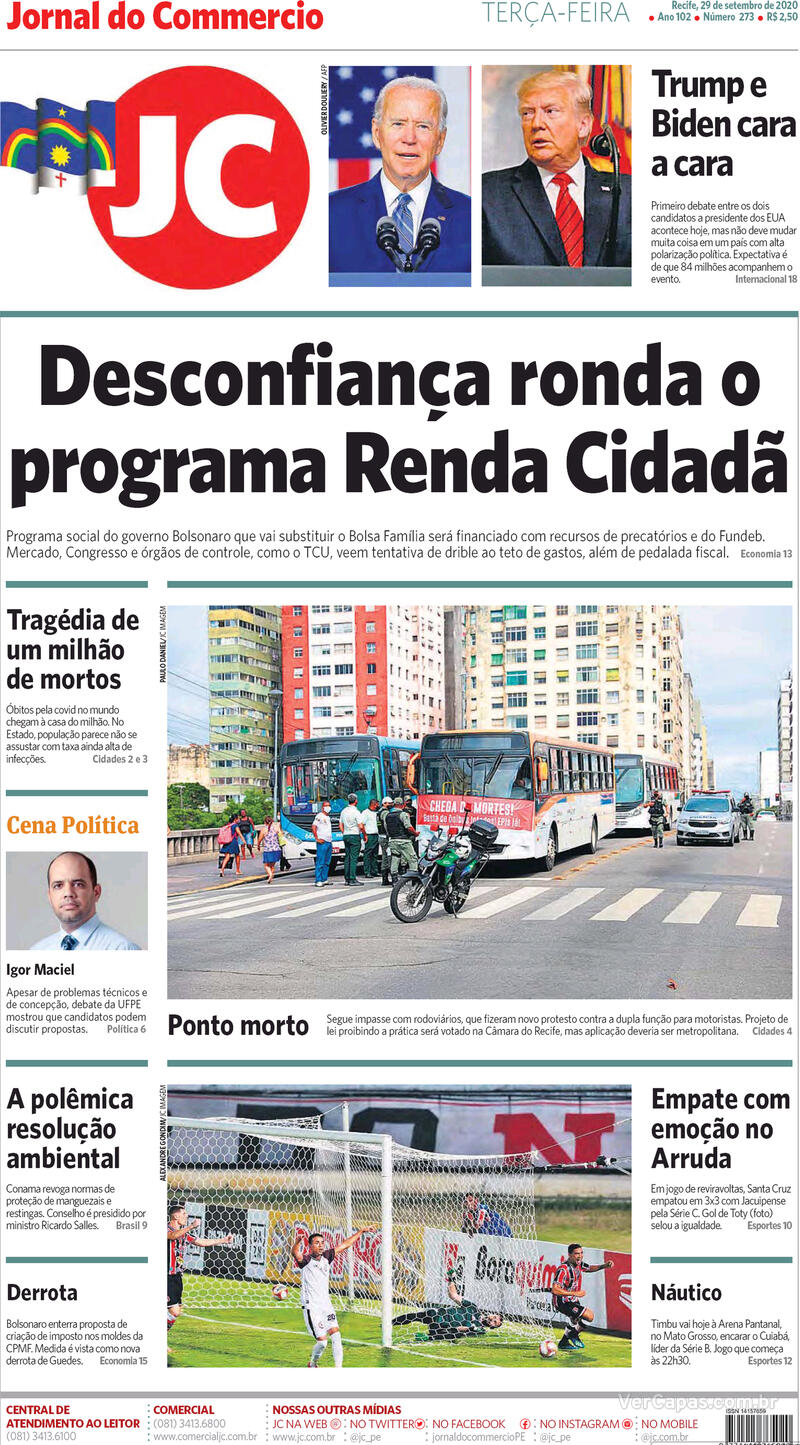 Capa do jornal Jornal do Commercio 29/09/2020