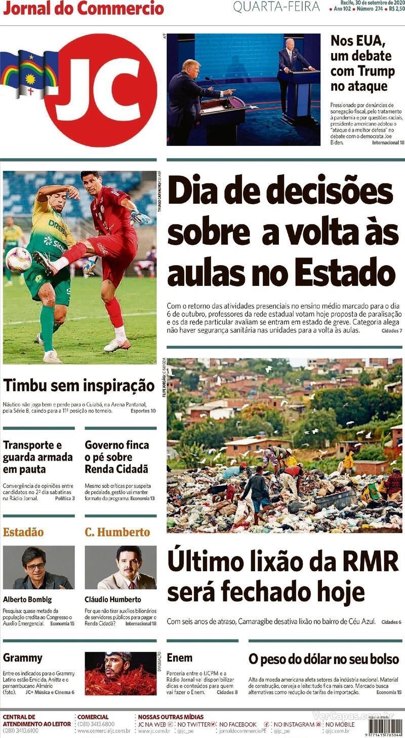 Capa do jornal Jornal do Commercio 30/09/2020