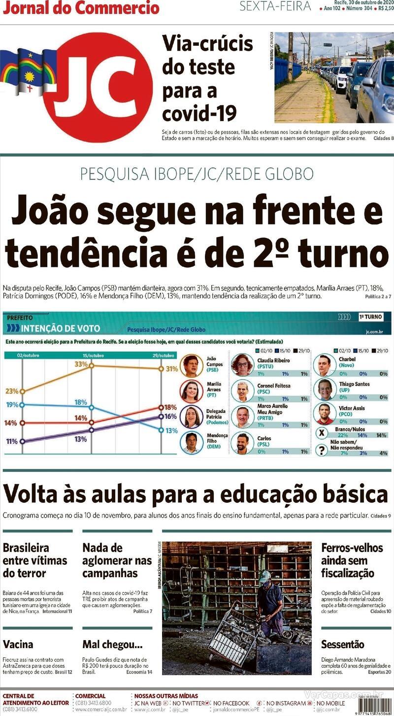 Capa do jornal Jornal do Commercio 30/10/2020