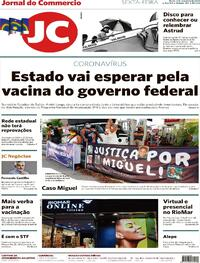 Capa do jornal Jornal do Commercio 04/12/2020