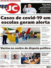 Capa do jornal Jornal do Commercio 22/10/2020
