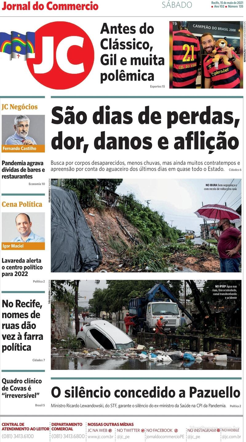 Capa do jornal Jornal do Commercio 15/05/2021
