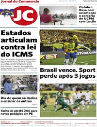 Capa do jornal Jornal do Commercio 15/10/2021