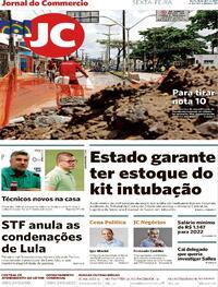 Capa do jornal Jornal do Commercio 16/04/2021