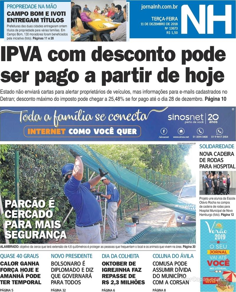 Capa Jornal NH 2018-12-11