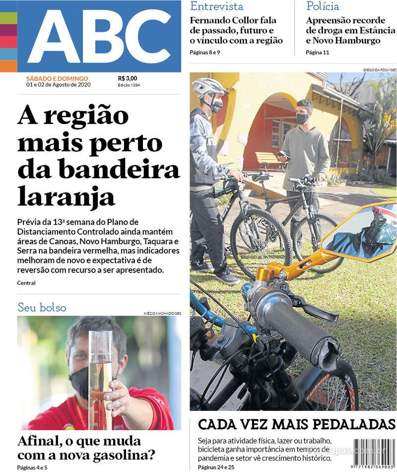 Capa do jornal Jornal NH 01/08/2020