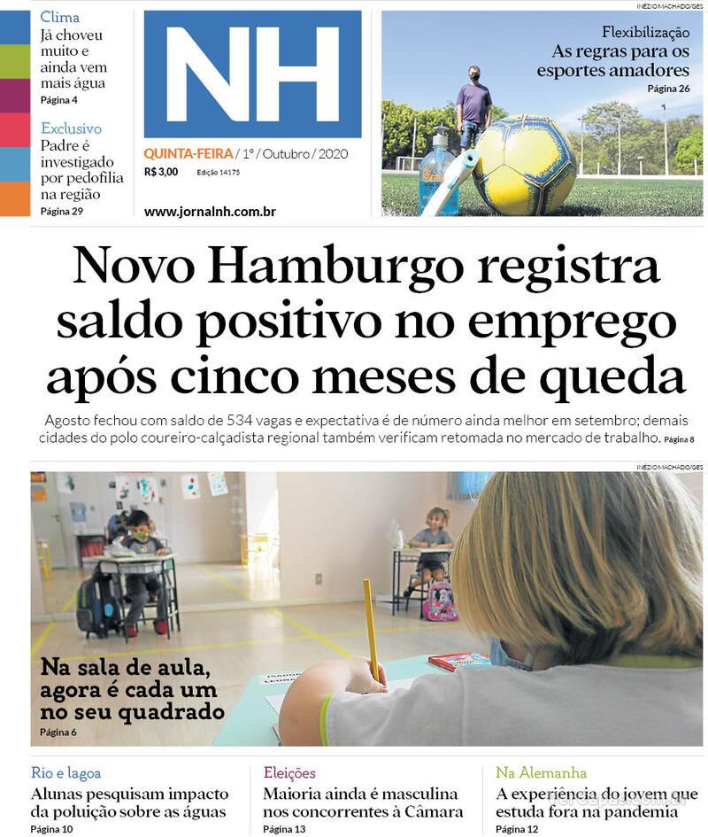 Capa do jornal Jornal NH 01/10/2020