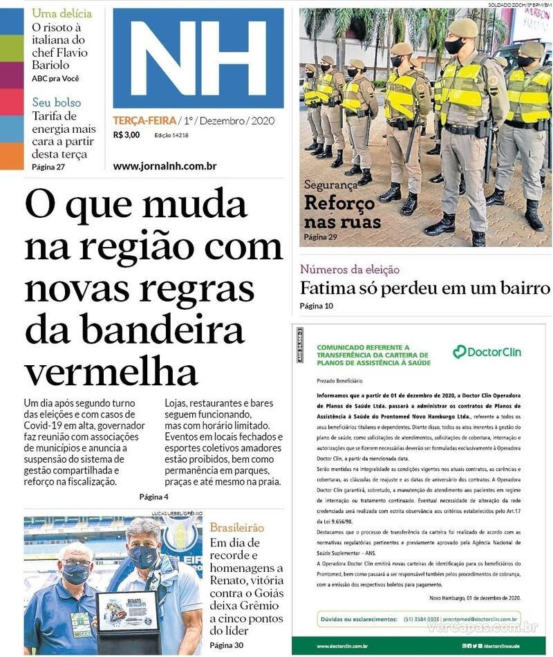 Capa do jornal Jornal NH 01/12/2020