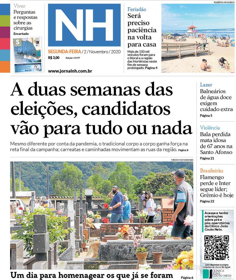 Capa do jornal Jornal NH 02/11/2020